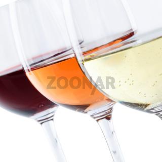 Wein Gläser Weingläser Weißwein Rotwein Rose Quadrat selektiver Fokus freigestellt Freisteller