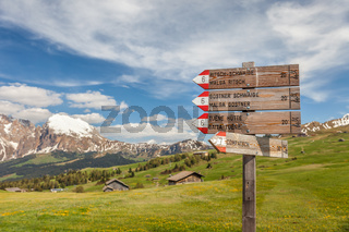 Signpost on the Alpe di Siusi