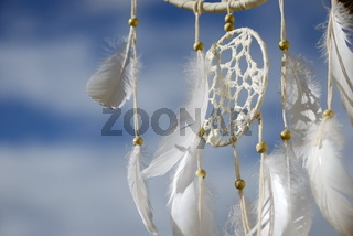 a Native american dream catcher moved by wind