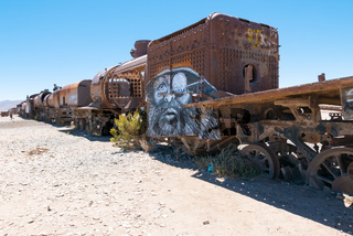 Bolivia Uyuni train cemetery in the morning