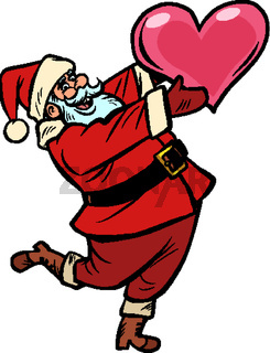 Santa Claus with heart. Christmas and New year