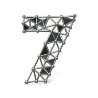 Wire low poly black metal Number 7 SEVEN 3D
