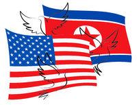 United States North Korean Peace Doves 3d Illustration