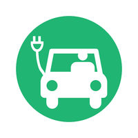 electric car pictogram round