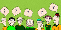 Men have a question. Hand drawn illustration