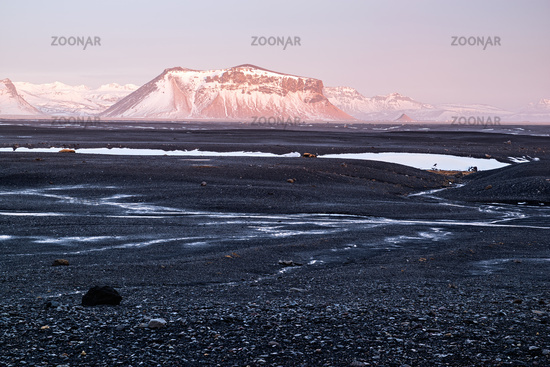 Sunset in Solheimasandur black beach, Iceland
