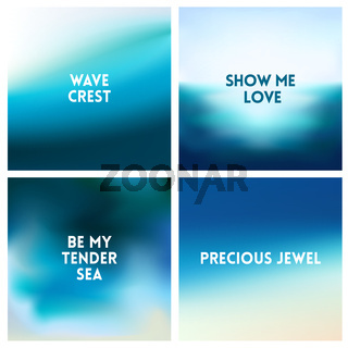 Abstract vector beach blurred background set 4 colors set. Square blurred backgrounds set - sky clouds sea ocean beach colors