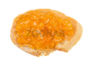 open sandwich with fresh bread and apricot jelly