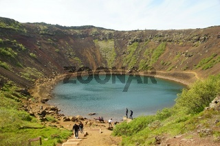Is a volcanic crater lake in south Iceland.