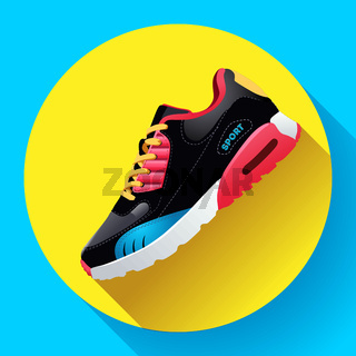 fitness sneakers shoes for training running shoe flat design with long shadow