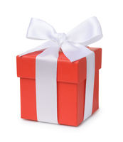 Red gift box with white ribbon