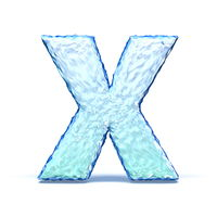 Ice crystal font letter X 3D