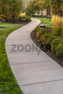 Paved walkway through a landscaped garden day