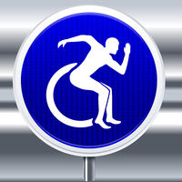 Strong disabled symbol with speed attitude and background.