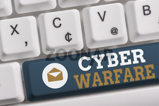 Word writing text Cyber Warfare. Business concept for Virtual War Hackers System Attacks Digital Thief Stalker White pc keyboard with empty note paper above white background key copy space.