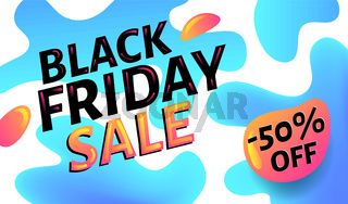Black Friday Sale advertising blue and white web banner or poster, placard template with colorful abstract elements, vector illustration.