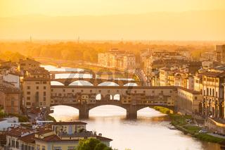 River Arno and famous bridge Ponte Vecchio