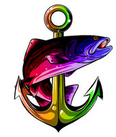 Anchor and fish vector illustration white background