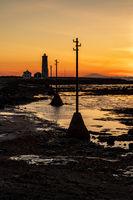 Sunset in Seltjarnarnes lighthouse, Iceland