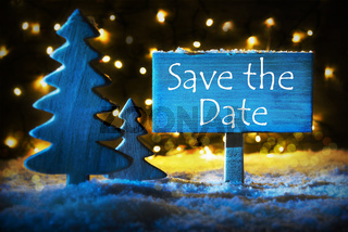 Blue Christmas Tree, Text Save The Date