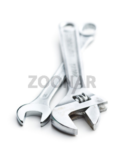 Chrome vanadium wrench. Industrial spanner.