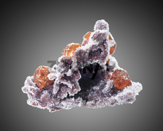 Sphalerite on a matrix with quartz crystals