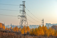 Autumn suburban landscape with power line