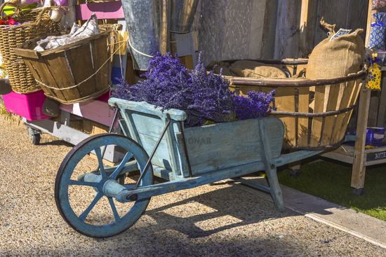 typical decoration with lavender and wooden handcart