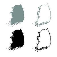 Map of South Korea icon outline set grey black color