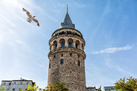 Galata Tower in the blue sky of Istanbul