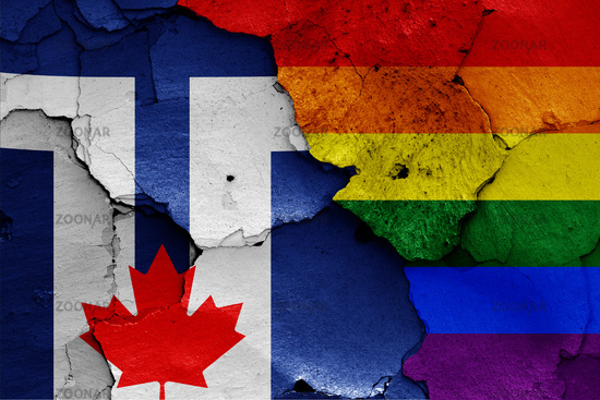 flags of Toronto and LGBT painted on cracked wall