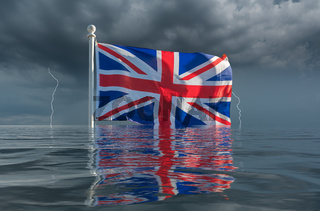 Union Jack or Union Flag sinking under waves wiht hard brexit