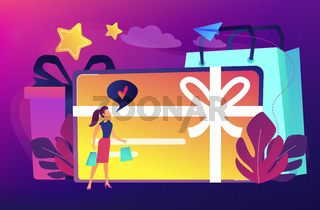 Gift card concept vector illustration.