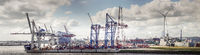 Panorama of a container terminal in the port of Hamburg