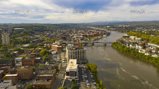 Aerial Perspective over Downtown Troy New York on the Hudson River