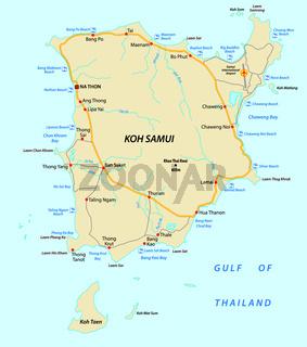 Koh Samui beach and road vector map