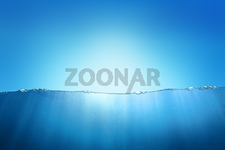 Sky and underwater abstract background design. Water split