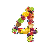 Number four made of different fruits and berries, fruit alphabet isolated on white background
