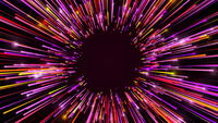 3d rendering movement through long corridor from beams. Speed of light, neon glowing rays in motion. Computer generated abstract modern cosmic background