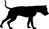 Dunker dog silhouette on a white background