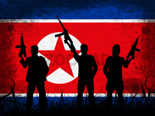 North Korea Army And Flag 3d Illustration
