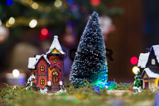 House and tree in the presepio scene