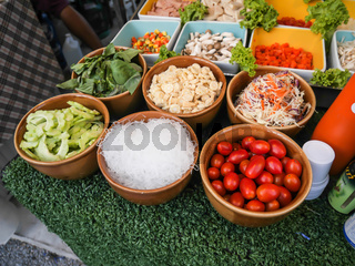 Raw materials for papaya salad, Ingredients for cooking, Thai food in market