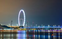 The Singapore Flyer and Helix Bridge at night