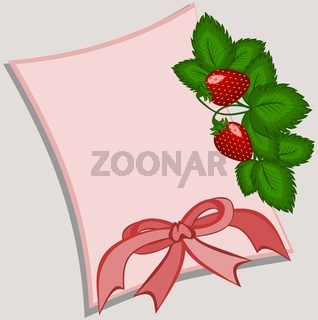 Gentle pink card with a bouquet of strawberries and a bow on a gray background without inscriptions.
