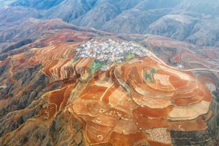 aerial view of yunnan red land and village