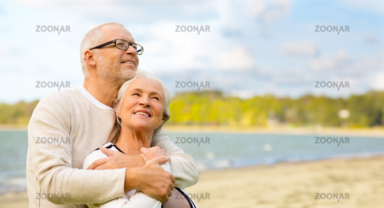 happy senior couple hugging over beach background