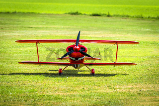 Red veteran plane ready to take off