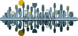 Connected City Skyline Concept Vector