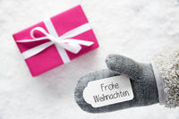 Gray Glove, Pink Gift, Label, Snow, Frohe Weihnachten Mean Merry Christmas